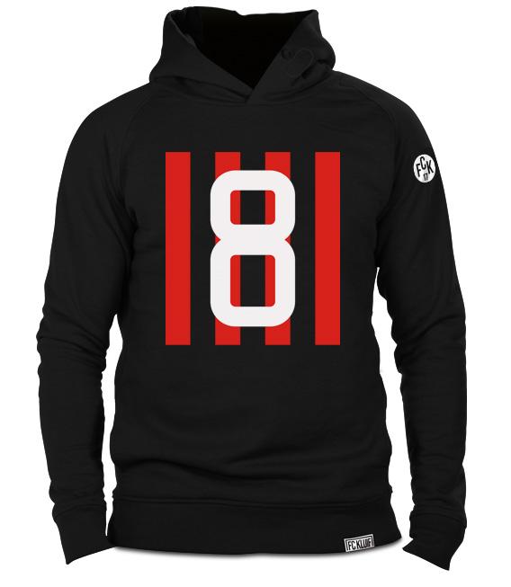 Gattuso trui hoodie zwart met nummer 8 van AC Milan in organisch katoen