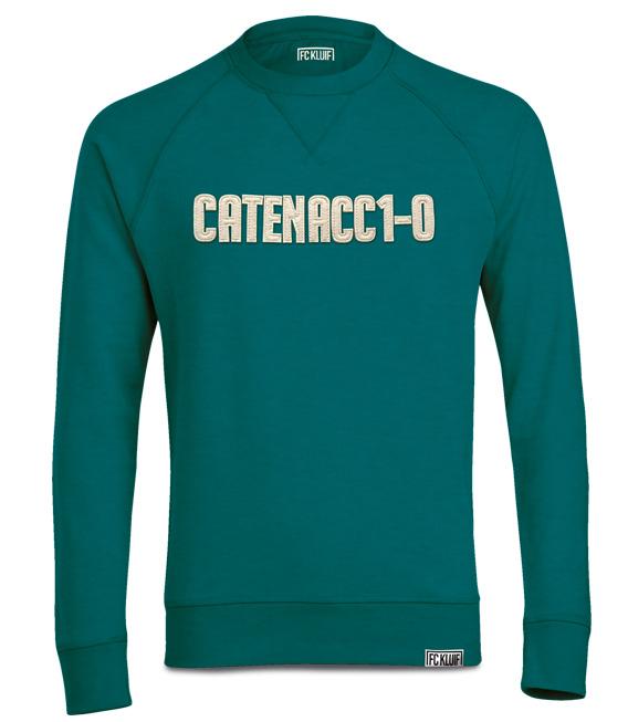 Catenaccio trui in het groen met vilten applicatie en van organisch katoen en polyester