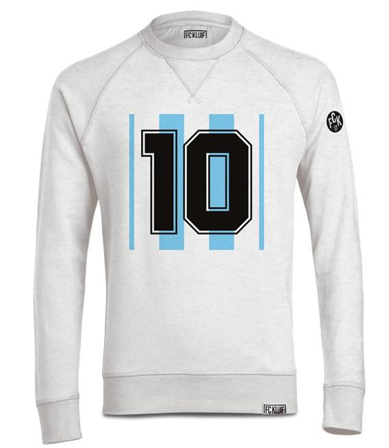 Maradonna en Messi trui met nummer 10 in het wit met blauw van polyester en organisch katoen