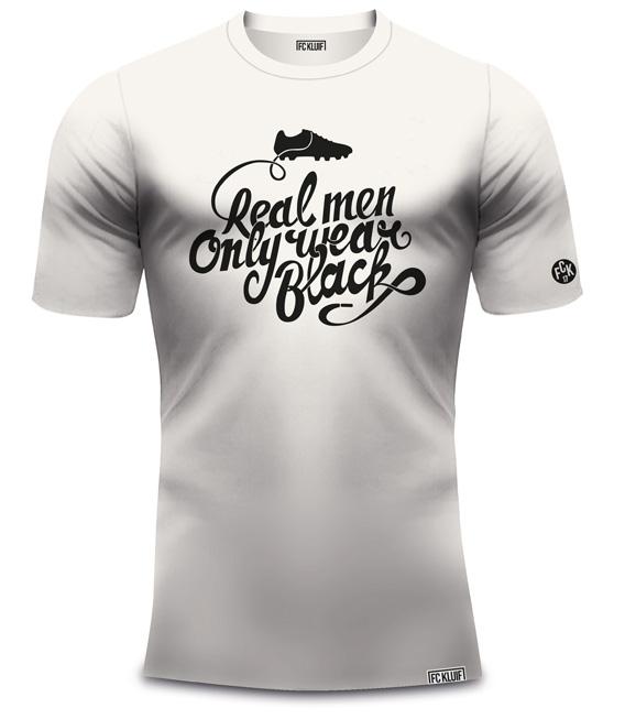 Real Men Only Wear Black t-shirt vintage wit van organisch katoen