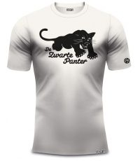 Frans de Munck shirt Zwarte panter in het vintage wit van 100% organisch katoen